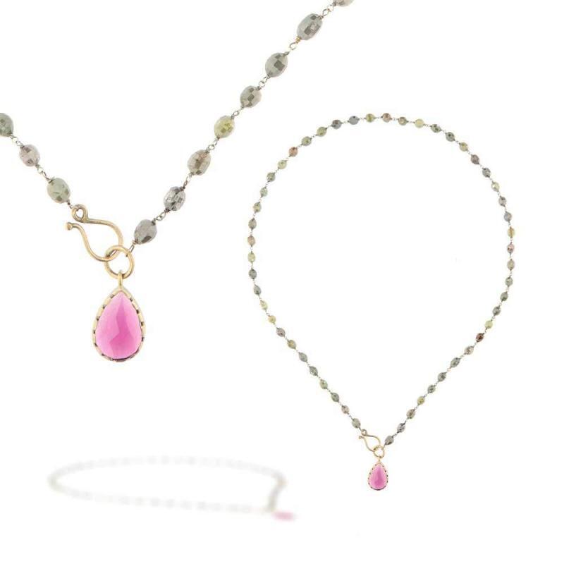 """Rosario Diamanti Fancy e Rodolite<BR/><span class=""""disponibile"""">disponibile nel negozio<BR/>di Milano corso Garibaldi</span>"""